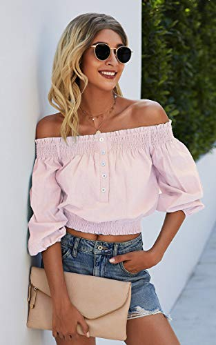 Angashion Womens Tops Sexy Off Shoulder Floral Flare Long Sleeves Printed Cropped Shirt Blouses 0 1