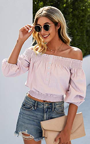 Angashion Womens Tops Sexy Off Shoulder Floral Flare Long Sleeves Printed Cropped Shirt Blouses 0 2
