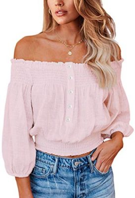 Angashion Womens Tops Sexy Off Shoulder Floral Flare Long Sleeves Printed Cropped Shirt Blouses 0