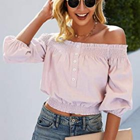 Angashion Womens Tops Sexy Off Shoulder Floral Flare Long Sleeves Printed Cropped Shirt Blouses 0 3
