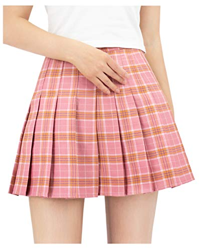 DAZCOS US Size 0 22 Plaid Skirt High Waist Japan School Skirts with Shorts for Women 0