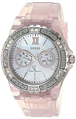 GUESS Womens Analog Quartz Watch with Silicone Strap Pink 18 Model GW0041L2 0