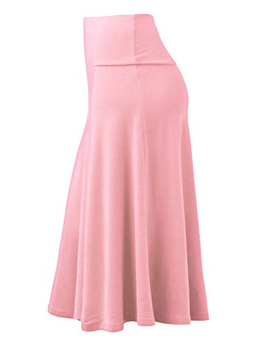 Lock and Love Womens Solid Ombre Lightweight Flare Midi Pull On Closure Skirt S XXXL Plus Size 0 0