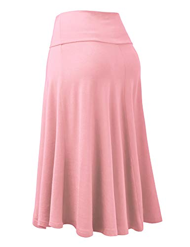 Lock and Love Womens Solid Ombre Lightweight Flare Midi Pull On Closure Skirt S XXXL Plus Size 0 1