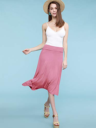 Lock and Love Womens Solid Ombre Lightweight Flare Midi Pull On Closure Skirt S XXXL Plus Size 0 3