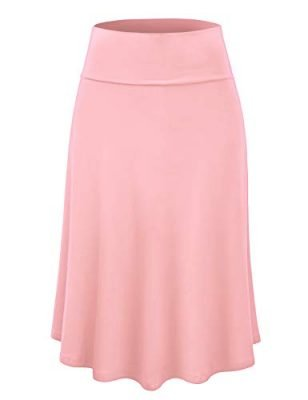 Lock and Love Womens Solid Ombre Lightweight Flare Midi Pull On Closure Skirt S XXXL Plus Size 0