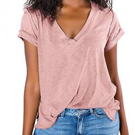 SySea Womens Summer Short Sleeve T Shirts Slit V Neck Tunic Tops Casual Loose Cotton Tee 0