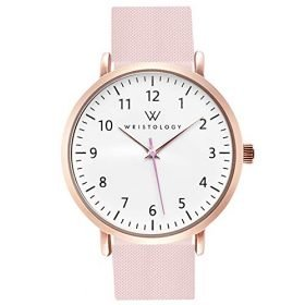 WRISTOLOGY Olivia Womens Numbers Watch for Nurses Large Face Analog Easy to Read with Second Hand Silicone Band 0