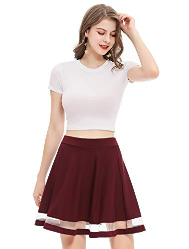 Wedtrend Womens Basic Versatile Stretchy A line Flared Casual Mini Skater Skirt 0 0