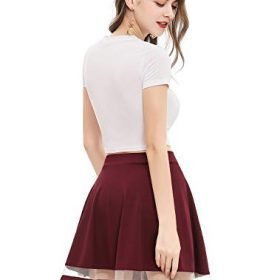 Wedtrend Womens Basic Versatile Stretchy A line Flared Casual Mini Skater Skirt 0 2