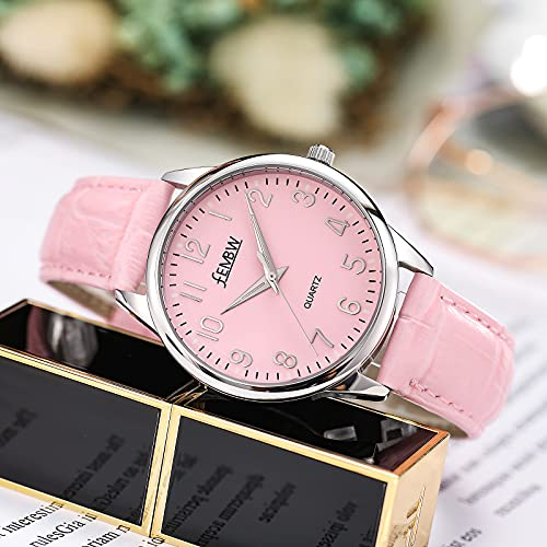 Womens Genuine Leather Strap Wrist Watch with Japanese QuartzStainless Steel Case50M Water Resistant 0 2
