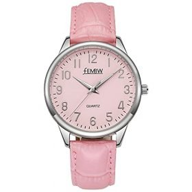 Womens Genuine Leather Strap Wrist Watch with Japanese QuartzStainless Steel Case50M Water Resistant 0