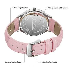 Womens Genuine Leather Strap Wrist Watch with Japanese QuartzStainless Steel Case50M Water Resistant 0 3