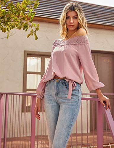 Womens Lantern Long Sleeve Lace Crochet Off The Shoulder Tops Loose Blouses Tops Shirt 0 1