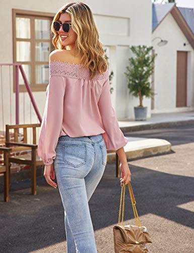 Womens Lantern Long Sleeve Lace Crochet Off The Shoulder Tops Loose Blouses Tops Shirt 0 2