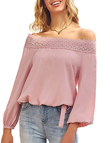 Womens Lantern Long Sleeve Lace Crochet Off The Shoulder Tops Loose Blouses Tops Shirt 0