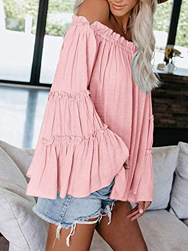 Womens Off The Shoulder Long Bell Sleeve Tops Flared Casual Loose Blouse 0 0