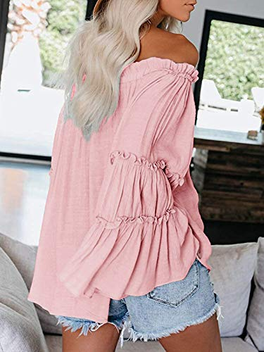 Womens Off The Shoulder Long Bell Sleeve Tops Flared Casual Loose Blouse 0 1