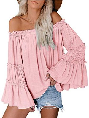 Womens Off The Shoulder Long Bell Sleeve Tops Flared Casual Loose Blouse 0