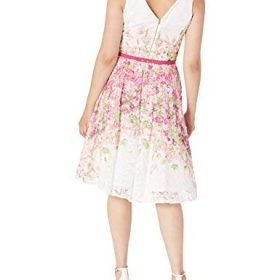 Gabby Skye Womens Floral Printed Fit and Flare Belted Dress 0 0