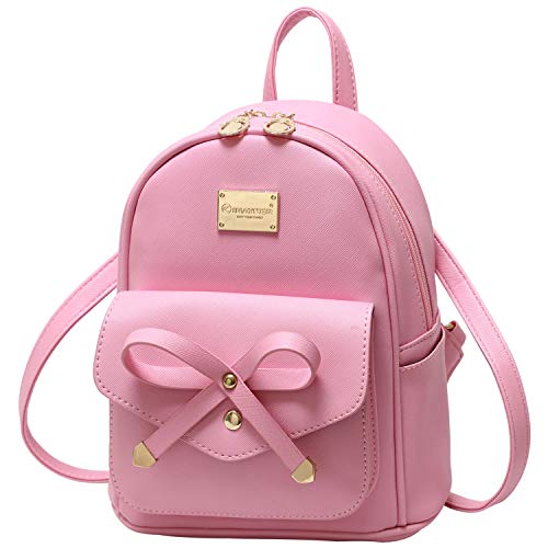 Girls Bowknot Cute Leather Backpack Mini Backpack Purse for Women 0
