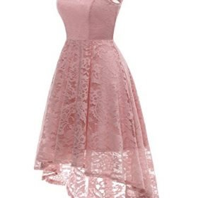MUADRESS Womens Vintage Floral Lace Sleeveless Hi Lo Cocktail Formal Swing Dress 0 0
