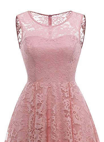 MUADRESS Womens Vintage Floral Lace Sleeveless Hi Lo Cocktail Formal Swing Dress 0 3