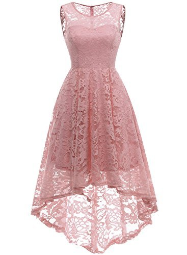 MUADRESS Womens Vintage Floral Lace Sleeveless Hi Lo Cocktail Formal Swing Dress 0