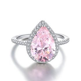 Mozume Womens Pear Cut 5ct Pink Cubic Zirconia Cocktail Engagement Wedding Anniversary Rings Sterling Silver 925 0