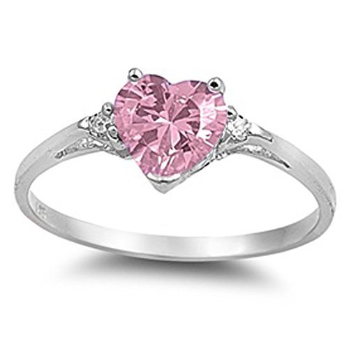 Oxford Diamond Co Sterling Silver Gemstone Heart Promise Love Jewelry Ring Sizes 3 12 0