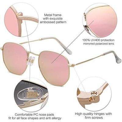 SOJOS Small Square Polarized Sunglasses for Men and Women Polygon Mirrored Lens SJ1072 0 1