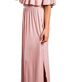 Sarin Mathews Womens Off The Shoulder Ruffle Party Dress Casual Side Split Beach Long Maxi Dresses with Pockets 0 0