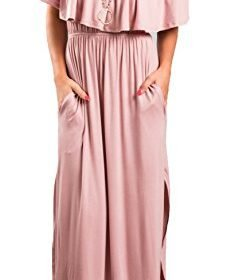 Sarin Mathews Womens Off The Shoulder Ruffle Party Dress Casual Side Split Beach Long Maxi Dresses with Pockets 0