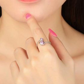 Step Forward Girls Ring 925 Sterling Silver Birthstone Rings for Women Adjustable Open Heart Stones Constellation Month Ring Birthday and Valentine Gift Jewelry for Woman 0 0