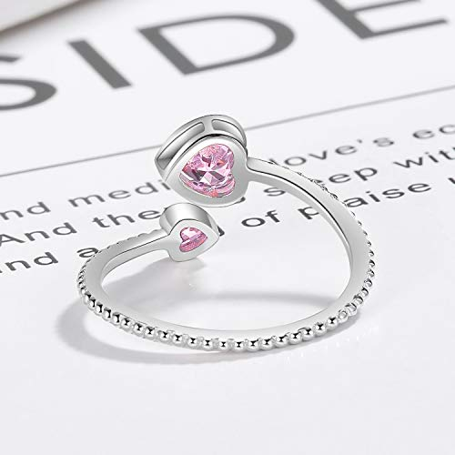 Step Forward Girls Ring 925 Sterling Silver Birthstone Rings for Women Adjustable Open Heart Stones Constellation Month Ring Birthday and Valentine Gift Jewelry for Woman 0 2