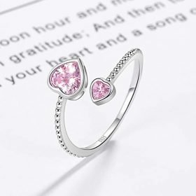 Step Forward Girls Ring 925 Sterling Silver Birthstone Rings for Women Adjustable Open Heart Stones Constellation Month Ring Birthday and Valentine Gift Jewelry for Woman 0 4