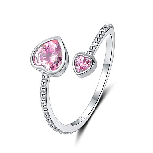 Step Forward Girls Ring 925 Sterling Silver Birthstone Rings for Women Adjustable Open Heart Stones Constellation Month Ring Birthday and Valentine Gift Jewelry for Woman 0