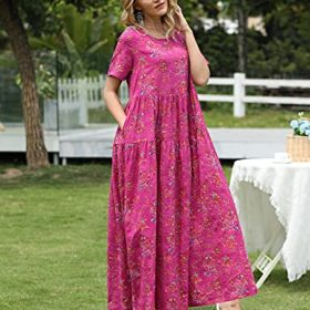 YESNO Women Casual Loose Bohemian Floral Dress with Pockets Short Sleeve Long Maxi Summer Beach Swing Dress EJF 0 0