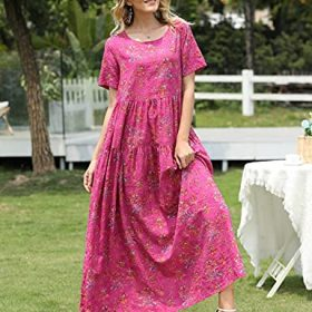YESNO Women Casual Loose Bohemian Floral Dress with Pockets Short Sleeve Long Maxi Summer Beach Swing Dress EJF 0 1