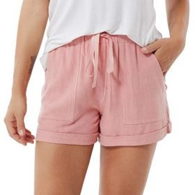 ddshijia Women Summer Shorts Drawstring Comfy Casual Workout Cotton Linen Elastic Waist with Pockets Shorts 0