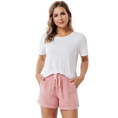 ddshijia Women Summer Shorts Drawstring Comfy Casual Workout Cotton Linen Elastic Waist with Pockets Shorts 0 4